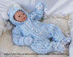 Bunny/Teddy All-in-one 17-24 inch doll/newborn/0-3m baby-all-in-one, knitting pattern, doll, baby, bunny, teddy