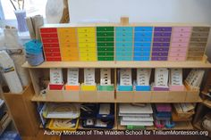 Take a look at what is on the shelves in this Montessori classroom. Language, Sensorial, Math, and Cultural inspiration for your Montessori environment.