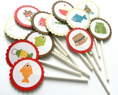 12 Fishing Cupcake Toppers, Fishing Theme, Gone Fishing, First Birthday, Reel Fun, Fishing Birthday, Fish Theme, Camping, Camping Theme by thepartypenguin on Etsy
