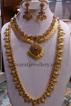 Jewellery Designs: Kasu Necklace and Mala with Uncuts