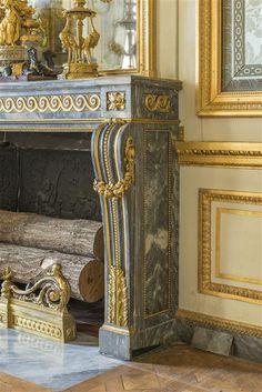Salon des Nobles Fireplace, Versailles castle, in blue Turquin marble, 1785…