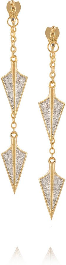 Noir Gold-plated crystal arrowhead earrings on shopstyle.com