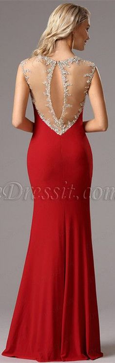 [USD 199.99] Gorgeous Red Formal Gown with Beaded Details (36161902)