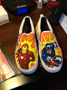 Captain America & Iron Man hand painted shoes.