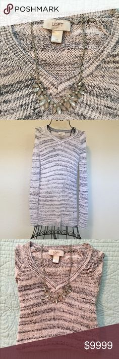 Just In!!! LOFT Marled Grey Sweater Marled grey sweater by Ann Taylor Loft. Loose knit for a casual relaxed fit. EUC, Smoke Free Home LOFT Sweaters V-Necks