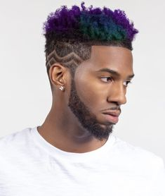 Men Purple Hair, Lilac Hair, Black Men Haircuts, Black Men Hairstyles, Mens Hair Colour, Hair Color For Black Hair, Boys Colored Hair, Trending Hairstyles For Men, Dyed Hair Men