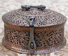 Antique India Paan Daan Betel Leaf Storage Brass Copper Container Box | eBay