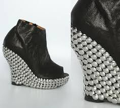 """Jeffrey Campbell """"Tick"""" in black with silver thumbtacks. They are actually really comfortable!"""