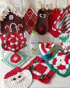 """Watch the review video for the Christmas Dishcloths Set Crochet Pattern! to Skill Level: Easy to Intermediate Sizes: Christmas Flower - About 8½"""" square. Holiday Hexagon - About 9"""" across (11"""" point t"""