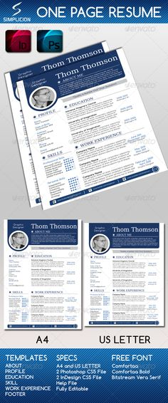 Free One page Printable Resume by Anam Ahmed, via Behance Free - recommended font for resume