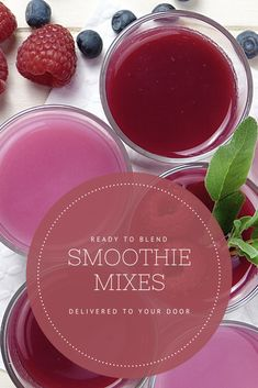Delivered to your door, ready to blend with milk, water, or whatever you want! | Smoothie mixes made from organic fruits and vegetables, free from additives and sweeteners. Choose from berry smoothie, clementine smoothie, cacao smoothie or green smoothie| #affiliate #breakfastsmoothie #smoothies