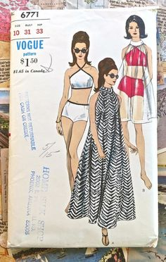 Vogue 6771  Vintage 1960s Womens Bikini Swimsuit by Fragolina, $52.00