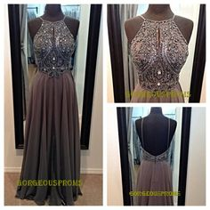 Long Grey Backless Prom Dress Straps Floorlength by GorgeousProms, $129.99