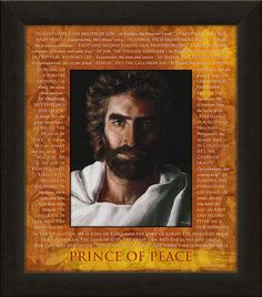 "Carpentree's Prince of Peace Through Scripture artwork includes the picture of Jesus from the New York Times Bestseller ""Heaven is for Real""as painted by Akiane Kramarik at its center. The matt includes striking orange and yellow colors, scripture referring to the names of Jesus and a shimmering cross."