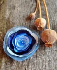 FLOWER BROOCH  textil flower  satin  beads by dagmarabuczek