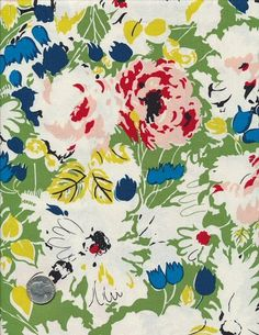 Anna Griffin Painterly | Darcey - Painterly Floral - Anna Griffin Fabric - Fat Quarter OOP HTF