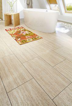 #Desert Travertine #Badezimmer Loft Stil, Travertine, Bathroom Flooring, Bath Mat, Tile Floor, Design, Home Decor, Rose, Floor Covering