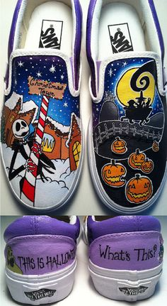 Nightmare Before Christmas Shoes by KissaThisArt on Etsy, $135.00