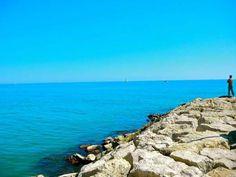 Beautiful rocky coast area in Sitges, Spain.