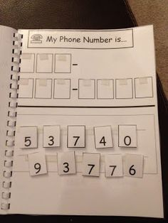 all about me book...work on learning phone number.  Great for kids with autism.