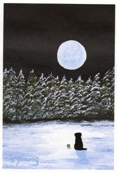 Black Lab WINTER SNOW limited edition reproduction art print of Todd Young painting Watercolor Paper, Watercolor Paintings, Original Paintings, Painting Snow, Large Painting, Sky Watch, Black Cat Art, Young Art, Cat Wall
