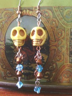 yellow howlite skull bead dangle earrings SOLD