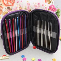 Free Shipping High Quality 22Pcs Set Multi-colour Aluminum Crochet Hooks Needles Knit Weave Craft Yarn >>> Click image for more details.