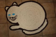 Crocheted Cat Rug  Cream and Brown Floor by CosyFeetRugsandMore