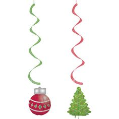 Decorate for Christmas with our Christmas Hanging Swirls! Features a die-cut ornament cutout attached to a red foil swirl and a Christmas tree attached to a green foil swirl. Includes 2 decorations per package. Party Supply Store, Party Stores, Christmas Decorations, Christmas Ornaments, Holiday Decor, Hanging Decorations, Merry Christmas And Happy New Year, Holiday Parties, Swirls
