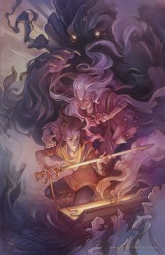 digital painting by illustrator Wylie Beckert: an old lady gives a magical sword to a young girl.