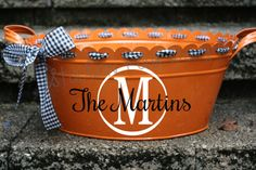 Personalized HALLOWEEN Scalloped Oval Metal Tub/ Ice Bucket - Many colors and designs available on Etsy, $31.00