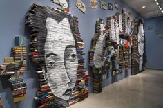 Portraits Painted on Stacks of Books