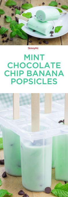 These Mint Chocolate Chip Banana Popsicles are heaven! Perfectly sweet and my new favorite guilt-free dessert. #skinnyms #cleaneating #dessert