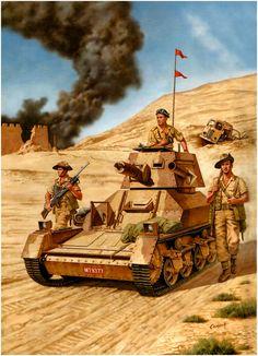 Mk. II Light Tank with Australian escort near Bardia
