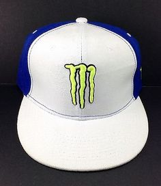Monster Energy Fitted Hat White And Blue Size 7 1/8