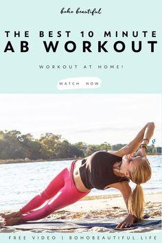 The Best 10 Minute Ab Workout Quick Ab Workout, 10 Minute Ab Workout, 10 Minute Abs, Six Pack Abs Workout, Abs Workout Routines, Pilates Workout, Workout For Beginners, Workout Videos, Waist Workout