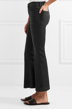 FRAME - Le Crop Bell Frayed Mid-rise Flared Jeans - Black -
