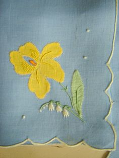 applique jonquil and lily of the valley from the island of Madeira   -yellow Iris and lily of the valley...cute!
