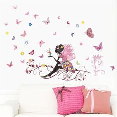 Best Quality - Wall Stickers - Flower Fairy Pink Colorful Tree Branch Butterfly Home Decal Wall Sticker Girl Women Bedroom DIY Kids Room Nursery Party Mural - by PCs *** Check out the image by visiting the link. (This is an affiliate link) Decoration Stickers, Wall Stickers Home Decor, Wall Stickers Murals, Wall Decal Sticker, Wall Decor, Girls Wall Stickers, Kids Wall Decals, Mural Wall Art, Diy Wall Art