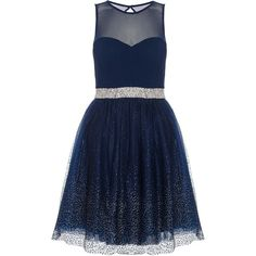 Quiz Navy Chiffon Glitter Prom Dress ($92) ❤ liked on Polyvore featuring dresses, navy, women, blue cocktail dress, prom dresses, blue chiffon dress, cocktail prom dress and party dresses