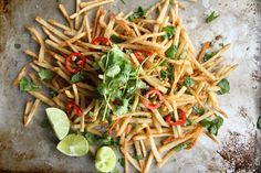 Lebanese Spiced Fries. Good spice blend plus how to get them skinny and crispy. I should try this with parsnip fries too.