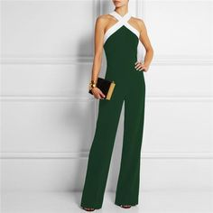 05679ccfa02 Elegant Patchwork Brief Halter Long Sleeveless Jumpsuits