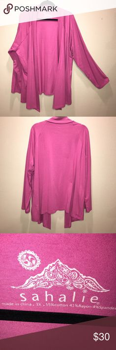 Pink long cardigan This Sahalie Cardigan is longer in the front and helps to hide problem areas.  It is a soft jersey feeling material.  This is a 3X and is brand new, has never been worn.Smoke free, pet free home. Sahalie Sweaters Cardigans