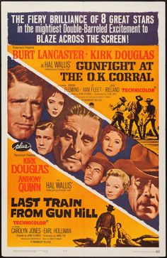 """Movie Posters:Western, Gunfight at the O.K. Corral/Last Train from Gun Hill Combo(Paramount, R-1963). One Sheet (27"""" X 41""""). Western.. ... Image #1"""