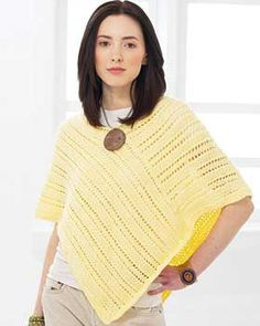 A pretty, basic poncho with lines of easy lace knitting to dress it up. Sizes XS-5XL (chest measurement 28-62
