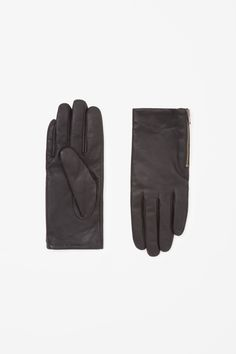 COS image 1 of Zip leather gloves in Black
