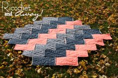 Ricochet and Away!: The Chevron Rag Quilt. The short sides of the rectangles have frayed seams on the front side. The back side displays the fraying in the long seams.
