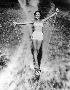 Woman on waterskis, 1950.