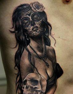 Sexy Santa Muerte tattoo. Click for more Drop Dead Gorgeous Santa Muerte Tattoos.