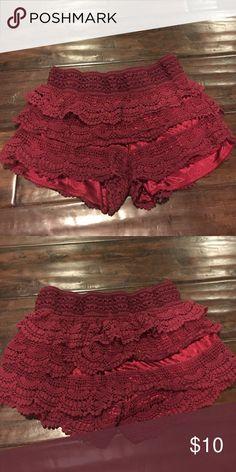 Maroon Crochet Shorts Maroon Crochet Shorts Shorts